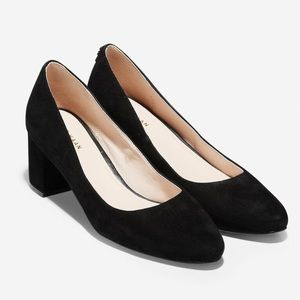 Cole Haan Black Suede Claudine Pump Heel 55mm 10